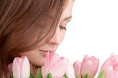 Retrato da mulher com tulips Imagem de Stock Royalty Free