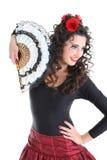 Retrato da mulher com ventilador Fotos de Stock Royalty Free