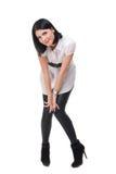 Retrato da mulher da forma no terno preto e branco Fotos de Stock