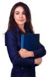 Retrato da mulher de negócio com o dobrador no fundo branco Imagem de Stock Royalty Free