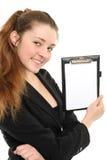 Retrato da mulher de negócio com um dobrador Imagens de Stock