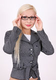Retrato da mulher de negócio com vidros Fotos de Stock
