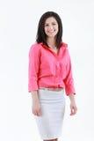 Retrato da mulher de negócio de sorriso, isolado no fundo branco imagem de stock