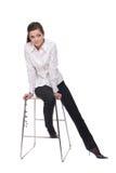 Retrato da mulher de negócio emocional na cadeira Fotos de Stock