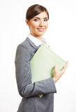 Retrato da mulher de negócio isolado no branco Fotos de Stock Royalty Free