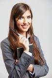 Retrato da mulher de negócio no branco Fotografia de Stock