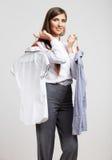 Retrato da mulher de negócio no branco Foto de Stock