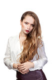 Retrato da mulher de negócio nova isolada no fundo branco Fotos de Stock