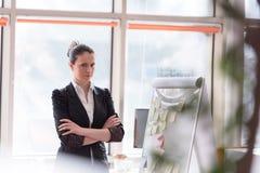 Retrato da mulher de negócio nova no escritório moderno Imagem de Stock
