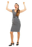 Retrato da mulher de negócio que comemora a vitória Fotografia de Stock