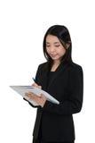 Escrita asiática da mulher Foto de Stock Royalty Free