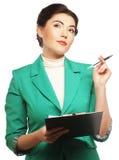 Retrato da mulher de negócios da escrita Foto de Stock Royalty Free