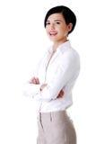 Retrato da mulher de negócios segura feliz foto de stock royalty free