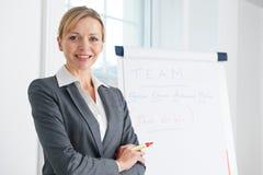 Retrato da mulher de negócios Standing By Flipchart Imagens de Stock
