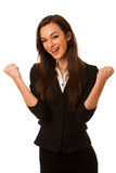 Retrato da mulher de negócio nova entusiasmado isolada sobre o CCB branco Fotos de Stock