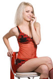 Retrato da mulher de sorriso Imagem de Stock