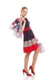 Retrato da mulher de sorriso feliz nova com sacos de compras foto de stock royalty free
