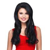 Retrato da mulher de sorriso nova com cabelo marrom longo Foto de Stock Royalty Free