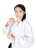 Retrato da mulher de Taekwondo Fotografia de Stock Royalty Free