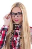 Retrato da mulher do blondie nos monóculos com carta de teste do olho Imagens de Stock Royalty Free