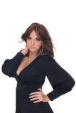 Retrato da mulher do encanto no vestido preto Fotos de Stock Royalty Free