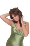 Retrato da mulher do encanto no vestido verde Imagem de Stock Royalty Free