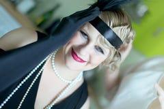 Retrato da mulher do estilo do vintage fotografia de stock royalty free