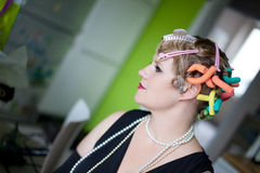 Retrato da mulher do estilo do vintage imagem de stock royalty free