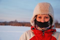 Retrato da mulher do inverno imagens de stock royalty free