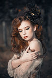 Retrato da mulher do outono da beleza Imagens de Stock Royalty Free