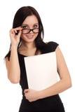Jovem mulher que guardara o compartimento das mulheres foto de stock