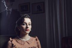 retrato da mulher dos anos 50 Imagem de Stock