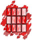 Retrato da mulher em tons vermelhos com fantasia Fotos de Stock Royalty Free