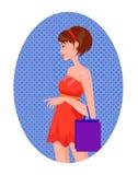 Retrato da mulher em uma compra com sacos Imagens de Stock Royalty Free
