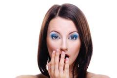 Retrato da mulher espantada nova Fotografia de Stock Royalty Free