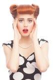 Mulher surpreendida do pino-acima Fotos de Stock Royalty Free