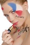 Retrato da mulher feliz ao tema francês Fotos de Stock Royalty Free