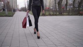 Retrato da mulher feliz após a compra na cidade filme