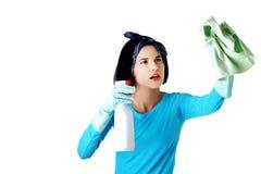 Retrato da mulher feliz com um líquido de limpeza Imagem de Stock Royalty Free