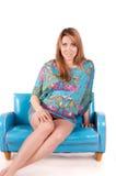Retrato da mulher gravida bonita feliz Imagem de Stock Royalty Free