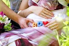 Retrato da mulher gravida com os cubos do menino em sua barriga e de h foto de stock