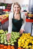 Retrato da mulher idosa que trabalha no mantimento Imagens de Stock Royalty Free