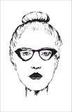 Retrato da mulher inteligente bonita nova nos vidros ilustração stock