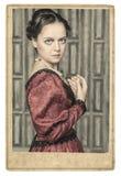 Retrato da mulher medieval bonita no quadro velho da foto Imagens de Stock