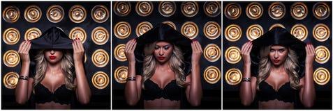 Retrato da mulher misteriosa na capa escura Fotos de Stock Royalty Free