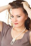 Retrato da mulher modelo bonita com cabelo longo Fotos de Stock