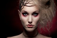 Retrato da mulher na composição do Dia das Bruxas Fotos de Stock Royalty Free
