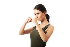 Retrato da mulher na roupa militar Imagem de Stock