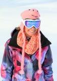 Retrato da mulher da neve do inverno imagem de stock