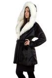 Retrato da mulher no casaco de pele Imagens de Stock Royalty Free